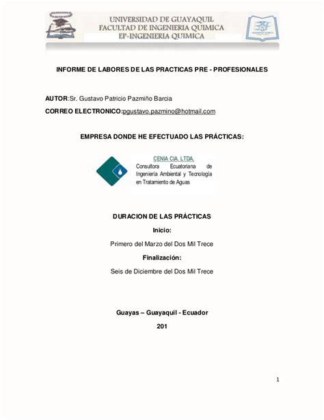 modelo de informe de pasantias unellez slideshare informe final de pasantias cenia cia ltda gustavo pazmi 241 o