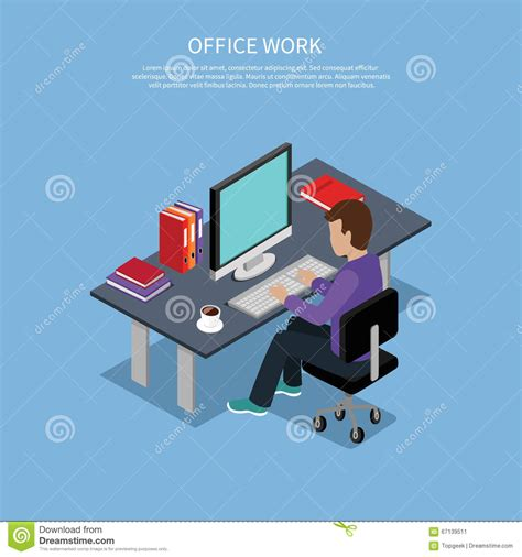 isometric man office work interior design stock vector