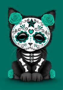 Batman Duvet Quot Cute Teal Blue Day Of The Dead Kitten Cat Quot Art Prints By