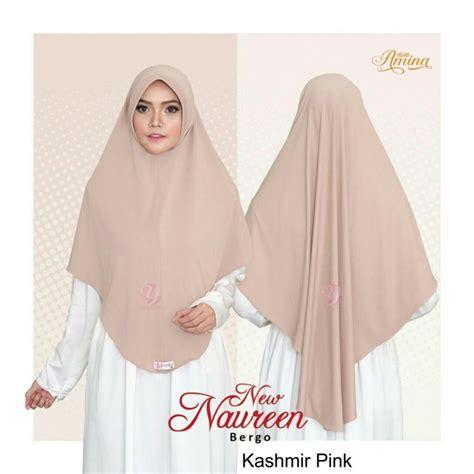 bergo new naureen kashmir pink hijabamina