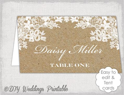 Rustic Place Cards Template by Rustic Place Card Template Rustic Lace Kraft Diy