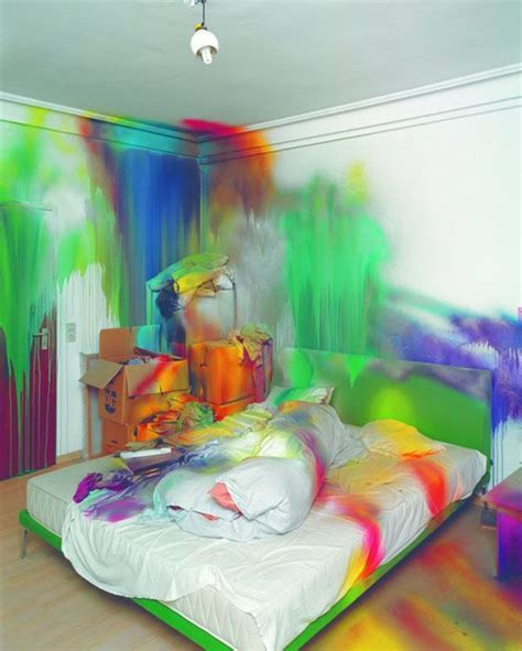 neon bedroom paint bed splash katharina grosse blend dripping interior
