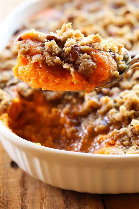 dish with sweet potatoes sweet potato casserole thanksgiving side dish chef in