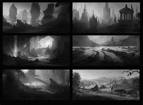 environment composition layout artstation black and white thumbnails nikolay razuev