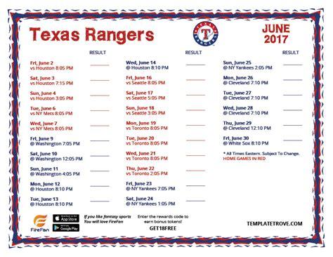 printable rangers schedule printable 2017 texas rangers schedule