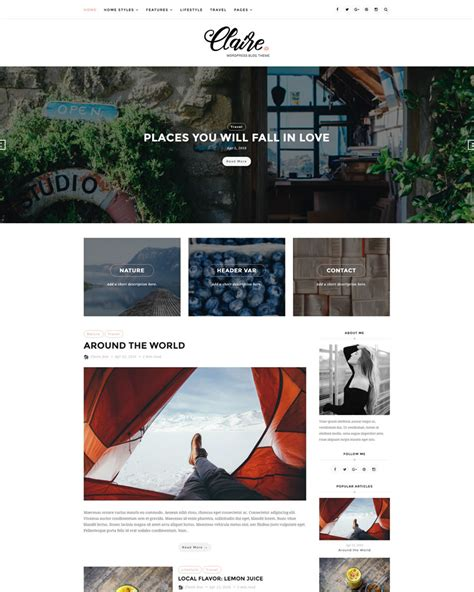 wordpress blog themes elegant claire elegant personal blog wordpress theme themes