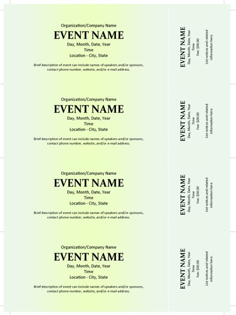 event ticket template word commercial event ticket template