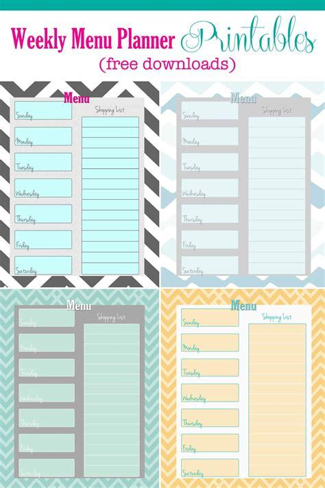 free weekly menu planner printable weekly menu planners menu
