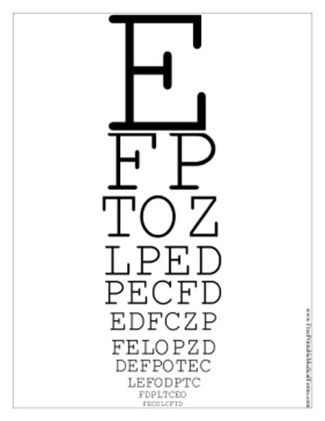 printable eye chart letter size printable snellen eye chart