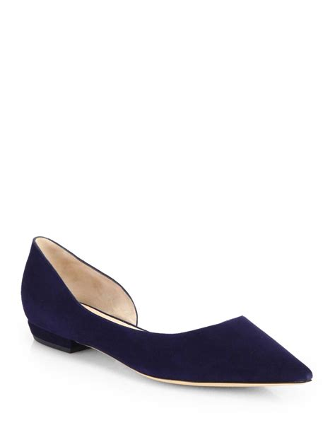 armani flat shoes giorgio armani suede d orsay ballet flats in blue lyst