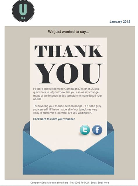 Thank You Email Template For Business sign up to and email template exles