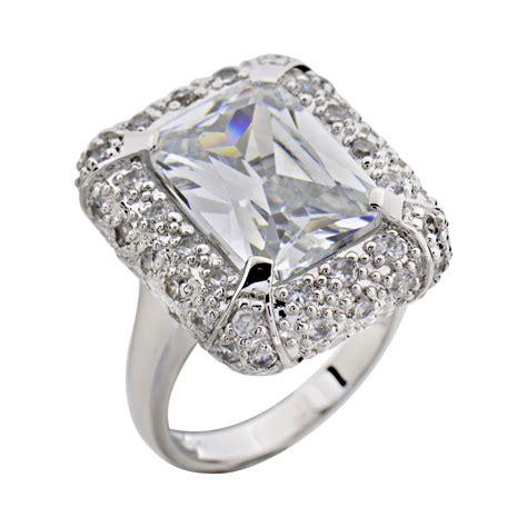emerald cut cubic zirconia sterling silver jewelry