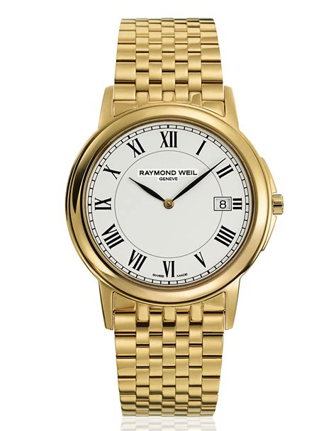 raymond weil mens tradition goldtone in gold