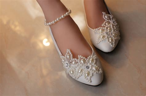 Ivory Lace Flat Wedding Shoes by Wedding Shoes Lace Bridal Shoes White Ivory Wedding Pearl
