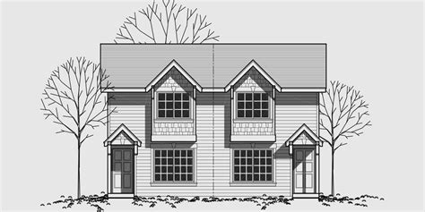 craftsman style duplex with boxed windows compact floor plan
