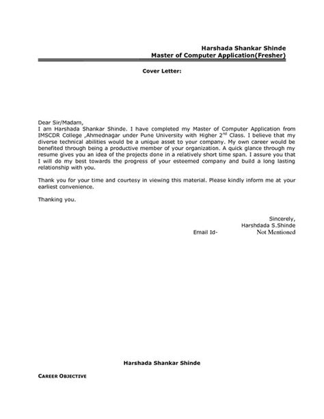 best resume cover letter format for freshers govt jobcover