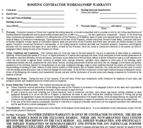 Craftsmanship Warranty Roof Repair Warranty Template