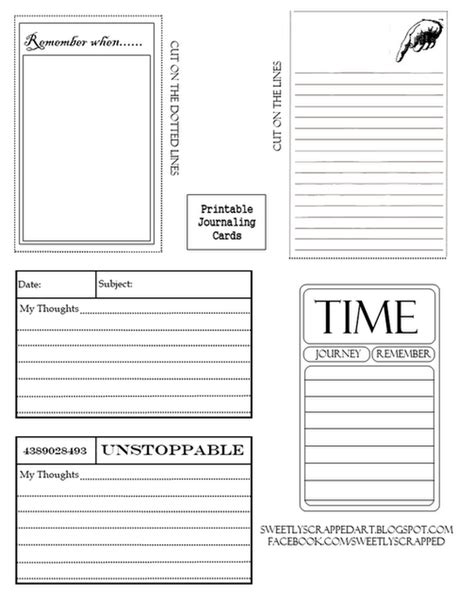 Journaling Cards Template by Journaling Spots Sweetly Scrapped S Free Printables