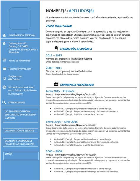 Modelo Curriculum Vitae Cronologico Word Curriculum Vitae Cronol 243 Gico Gt Ejemplos Formatos Y Plantillas 161 Gratis Milformatos