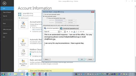 Standard Out Of Office Reply by Outlook 2013 Setting Up Automatic Quot Out Of Office Quot Replies