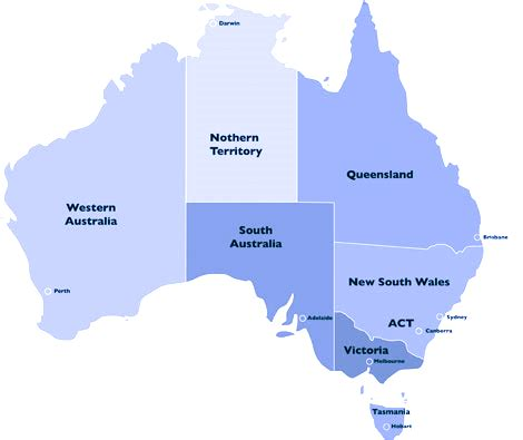 map of australia with states australia map states