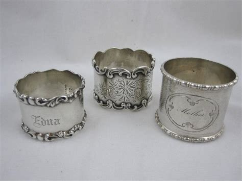 antique sterling silver napkin rings a mixed set of six