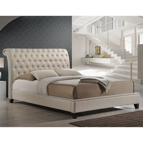 Jazmin Tufted Modern Bed With Upholstered Headboard by Baxton Studio Jazmin Tufted Light Beige Modern Bed With