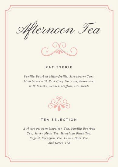 afternoon tea menu template watercolor flowers fancy menu templates by canva