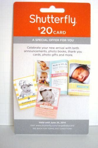 Shutterfly Gift Card Where To Buy - shutterfly 20 gift card ebay