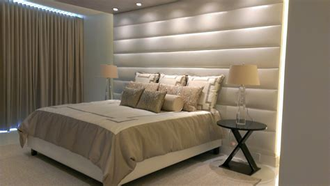 wall mounted upholstered headboard panels with contemporary interior design for bedroom home