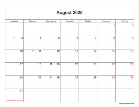 august  calendar printable  bank holidays uk