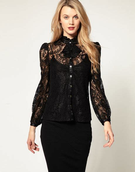 And Black Lace Blouse by Millen Lace Blouse With Jabot Detail In Black Lyst