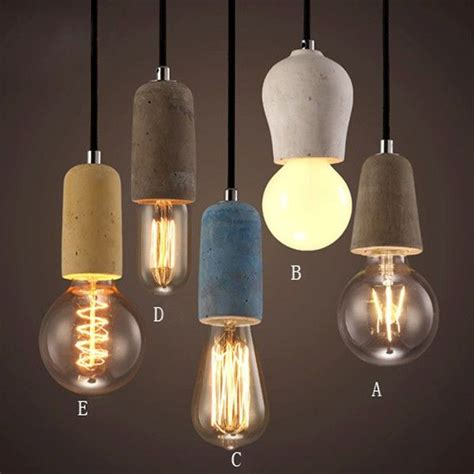 small edison light bulbs rustic concrete exposed edison mini pendant light
