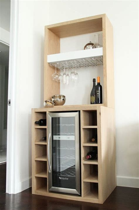 built in cabinet wine refrigerators white oak bar with built in wine cooler and glass rack