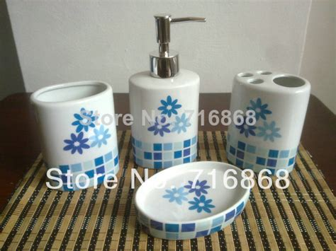 blue bathroom accessories sets ds c1025 ceramic soap dish dispenser tumbler