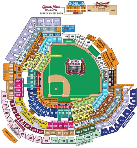 Busch Stadium Section Map by Busch Stadium Seating Chart With Seat Numbers Busch Stadium Level By Level Maps St Louis