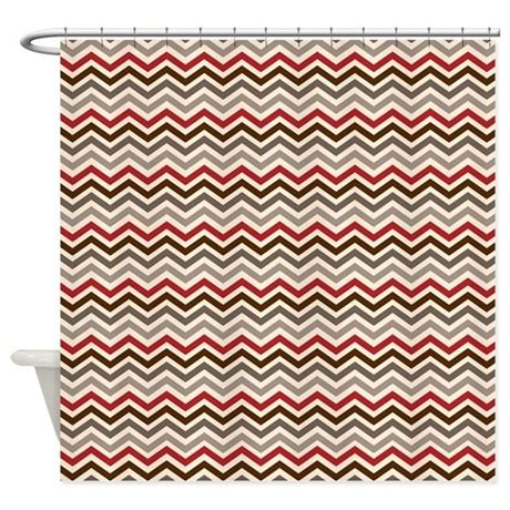 red chevron curtains red gray chevron zigzags shower curtain by