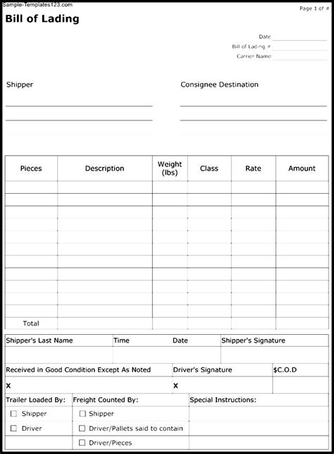 bill of lading form template sle templates