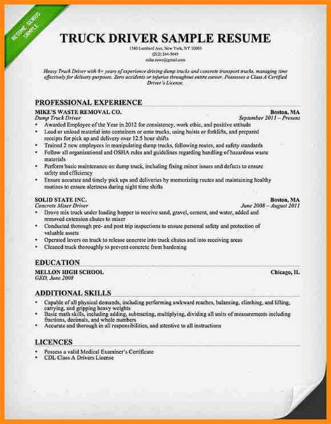 cdl truck driver resume sle 8 commercial truck driver resume sle driver resume