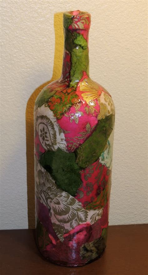 Decoupage Wine Bottles - custom listing for susie lokta paper decoupage on large