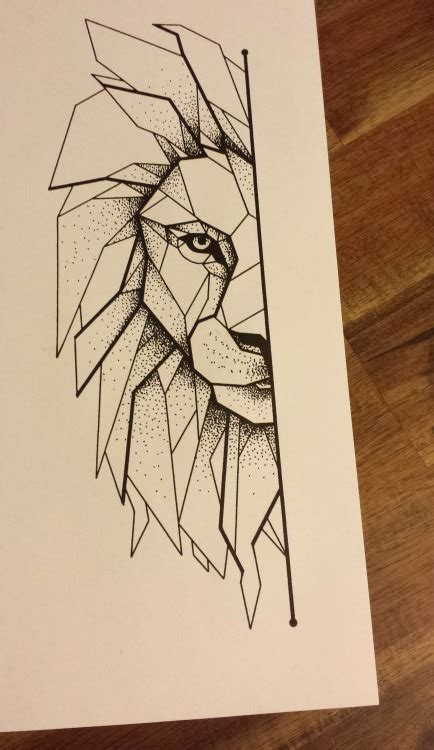 geometric animal tattoo lion geometric lion tumblr