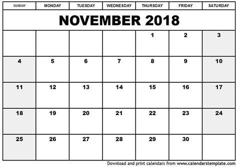 printable quarterly calendar 2018 november 2018 calendar pdf monthly printable calendar