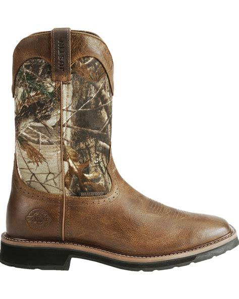 justin mens camo waterproof work boots justin s stede camo waterproof work boots boot barn