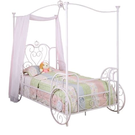 twin canopy beds powell furniture princess emily carriage twin metal canopy
