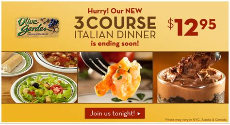 your dollar olive garden 3 course dinner 12 95