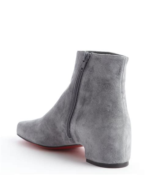 christian louboutin grey suede side zip ankle boots in