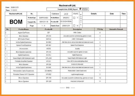 bill of materials template bill of materials exle resume exles