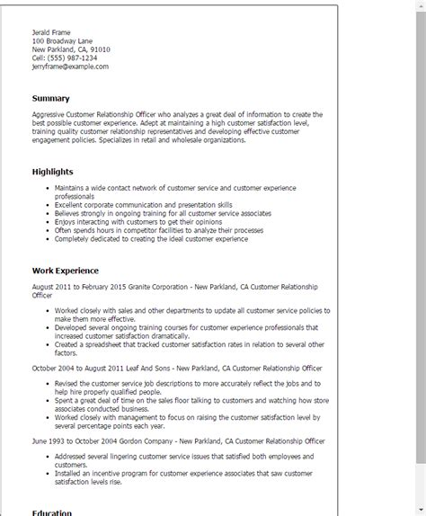 customer service officer resume customer relationship officer resume template best