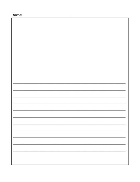 printable narrative writing paper printable kindergarten blank writing paper 9 best images