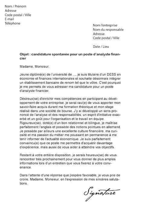lettre de motivation analyste financier mod 232 le de lettre